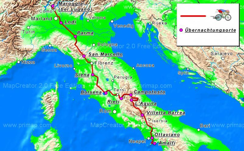 Radtour Reisebericht Italien Abruzzen Amalfikuste Toskana Poebene